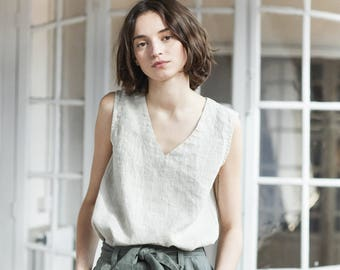 Linen tank top VIENNA in V neck / V neck washed linen blouse / linen tank top available in 34 colors