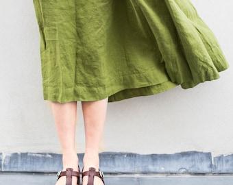 Linen skirt '1950s CITY' / with deep pockets / A - line washed linen skirt in salmon blush / Midi linen skirt / High waist linen skirt