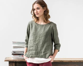 Linen top JANUARY / Washed linen top / available in 34 colors