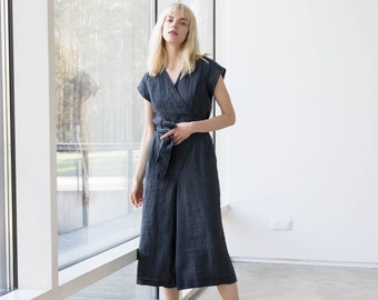 Wrap linen jumpsuit TORINO in MIDI length / Washed long linen overall / Linen romper