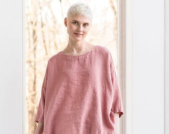 Oversized linen top OLD LONDON in round neck