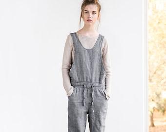 Loose full leg length linen JUMPSUIT / Women romper