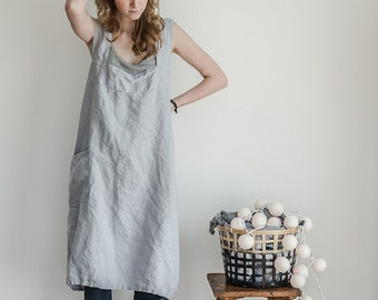 Linen pinafore apron / Square cross linen apron / Japanese style apron / Washed ice blue/silver grey long linen apron / No ties apron