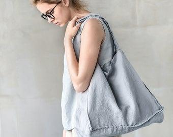 Large linen tote bag / linen beach bag / linen shopping bag in light elephant grey