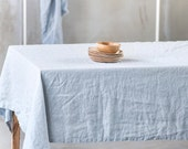 Linen tablecloth in ice blue-silver large / Handmade linen tablecloth
