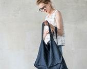 Charcoal linen tote bag / warm black large / linen beach bag / linen shopping bag