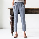 Linen GENOVA pants / with elastic waistband / Washed women linen trousers / linen pants available in 37 colors