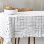 Washed linen tablecloth in large checks / Handmade linen tablecloth