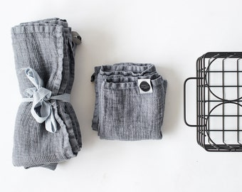 Set of hand and bath waffle linen towel / Washed waffle linen towels in dark grey/graphite