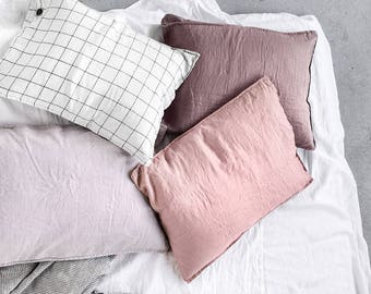 "Set of 2 pillowcases QUEEN SIZE (Standard-EU) 20""x30"" (50x75 cm) / Set of 2 washed linen pillowcases / in 35 colors"