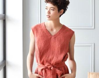 eccc5896a48 COPENHAGEN linen dress / V neck sleeveless washed linen dress / summer linen  dress in raspberry color