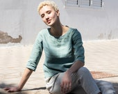 Fitted linen top DAVOS / in 3/4 sleeves / basic linen blouse available in 34 colors