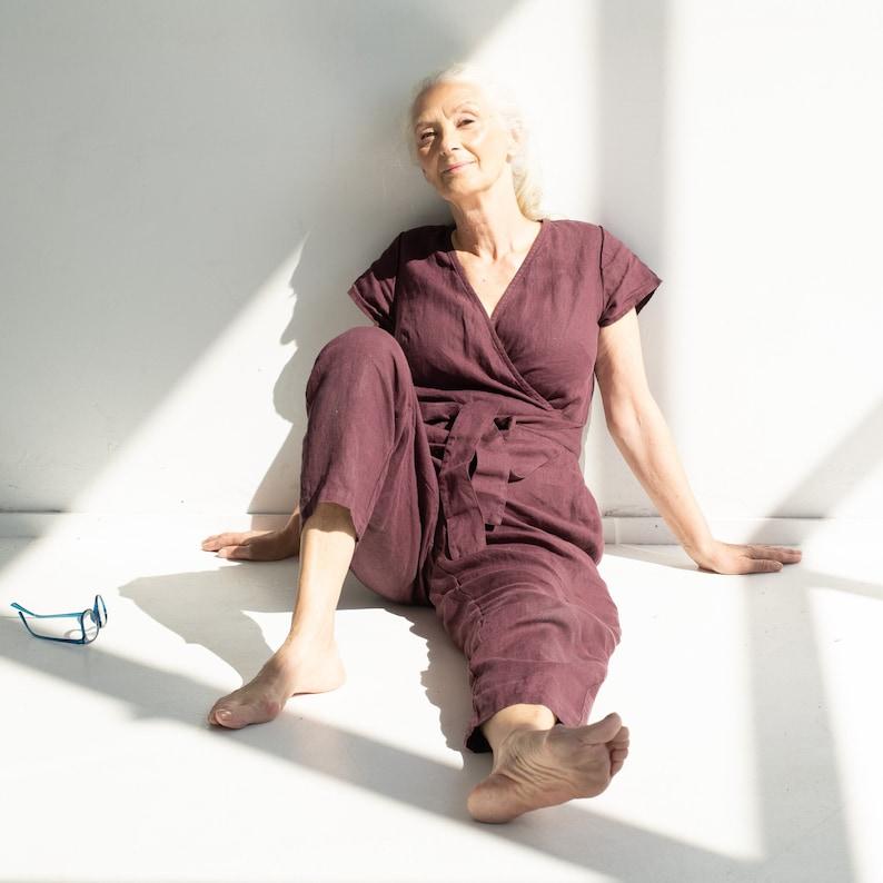 Wrap linen jumpsuit / Washed long linen overall / Linen romper image 0