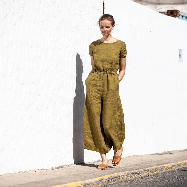 Linen jumpsuit BARCELONA in MAXI length / Washed long linen image 0
