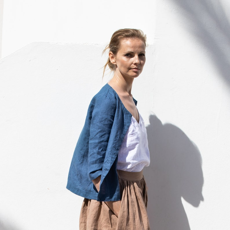 Linen jacket LINDOS / summer linen jacket available in all image 0