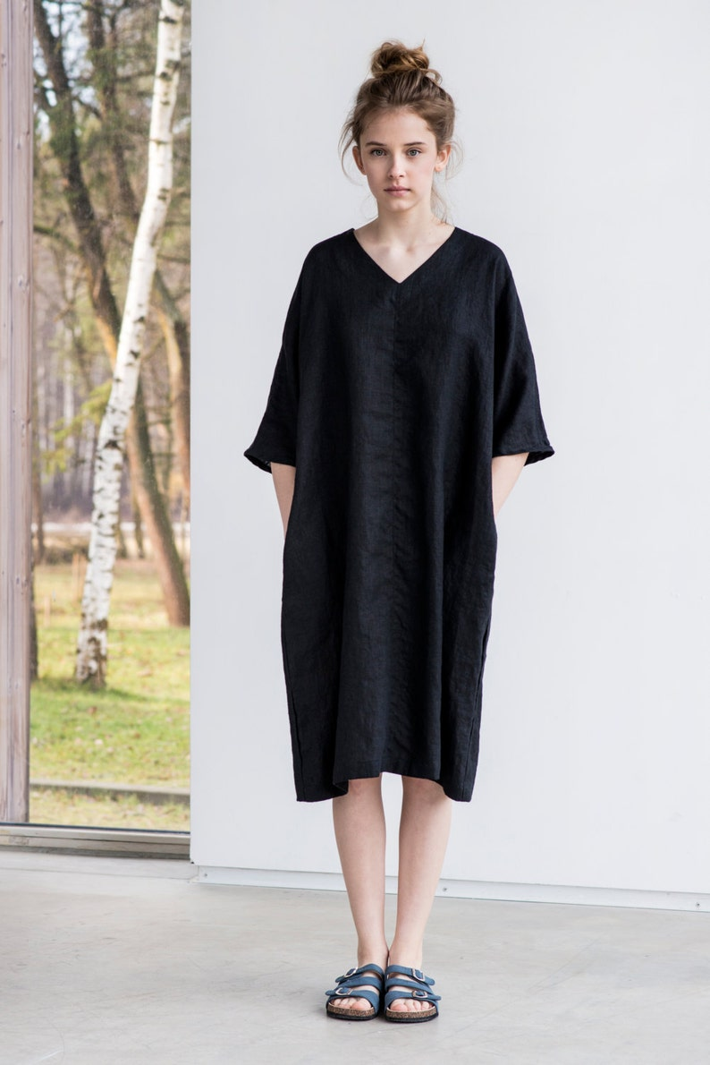 Tunic  dress VALENCIA in MIDI length / Washed linen  tunic in image 0