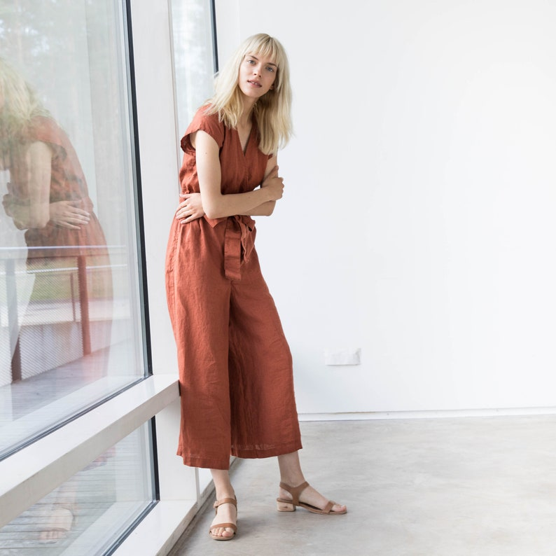Wrap linen jumpsuit TORINO in MAXI length  Washed long linen overall  Linen romper