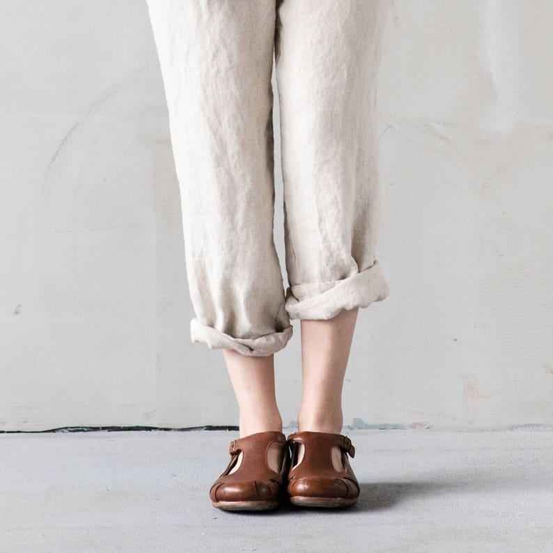 Loose linen pants ATHENS / Natural loose linen pants / Washed image 0