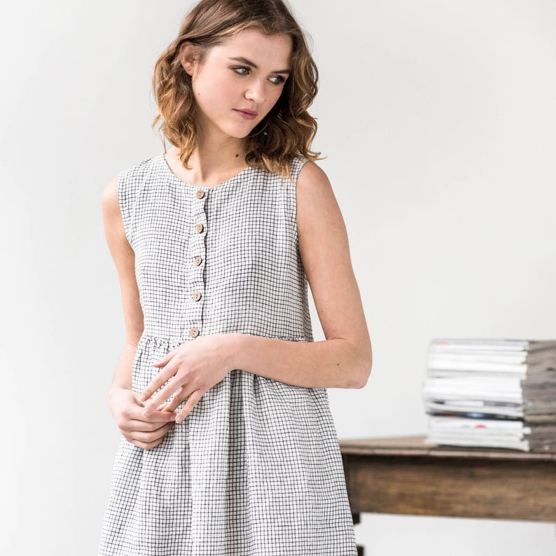 Linen loose sleeveless MAMA dress in MIDI length / Washed and image 0