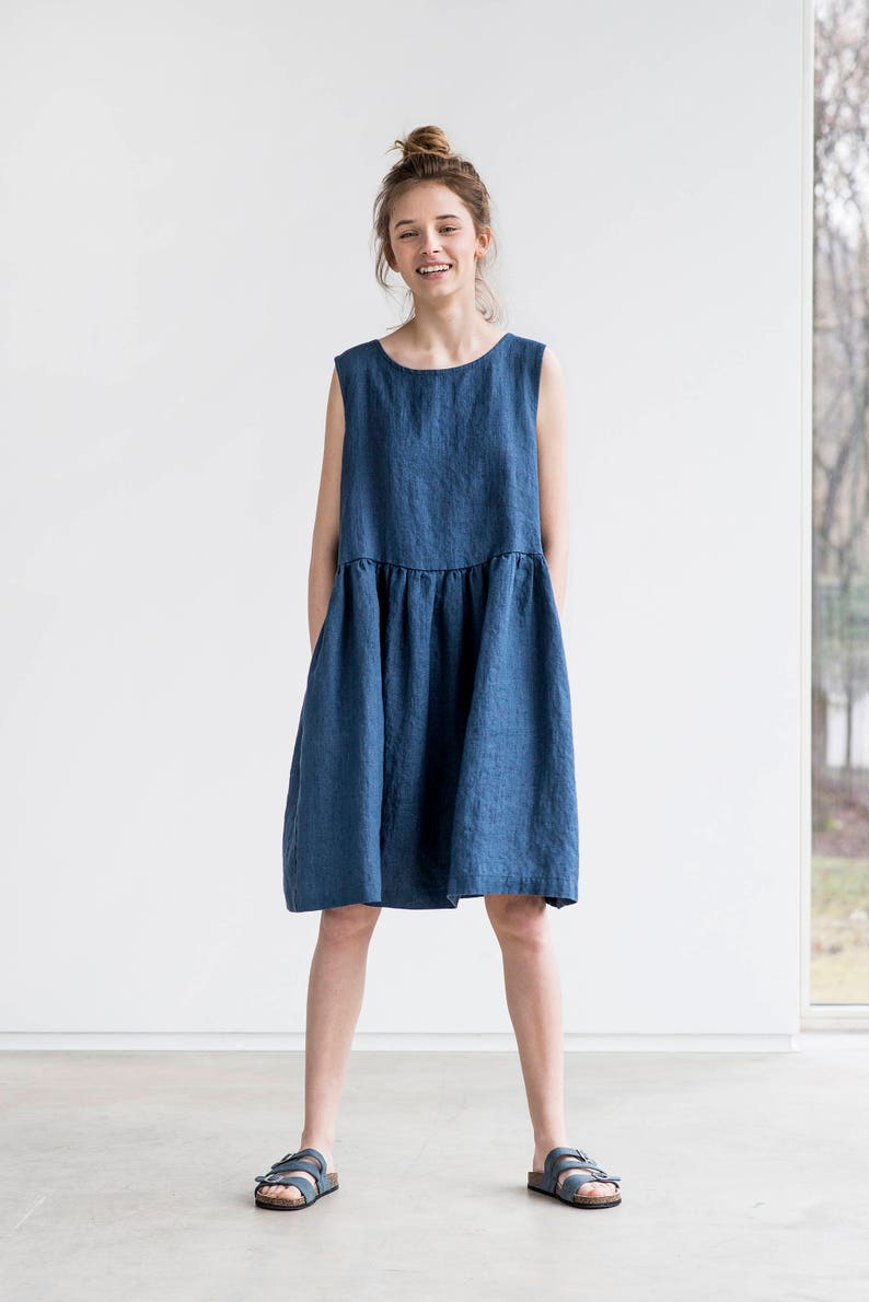 Smock linen dress in MIDI length / Loose linen sleeveless image 0