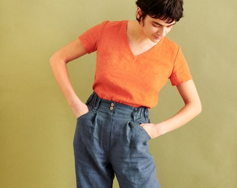 R: High-waisted pleated front pants DAMME