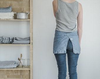 Linen cafe apron / Swedish blue washed natural- eco - friendly- handmade linen cafe apron