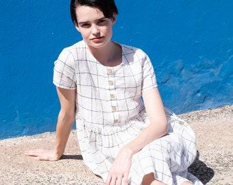 Linen loose 'MAMA - 2' dress in maxi length