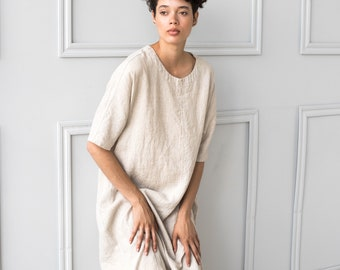 Tunic - dress SEUL in MAXI length / Washed and soft linen dress / Oversized linen dress in round neck