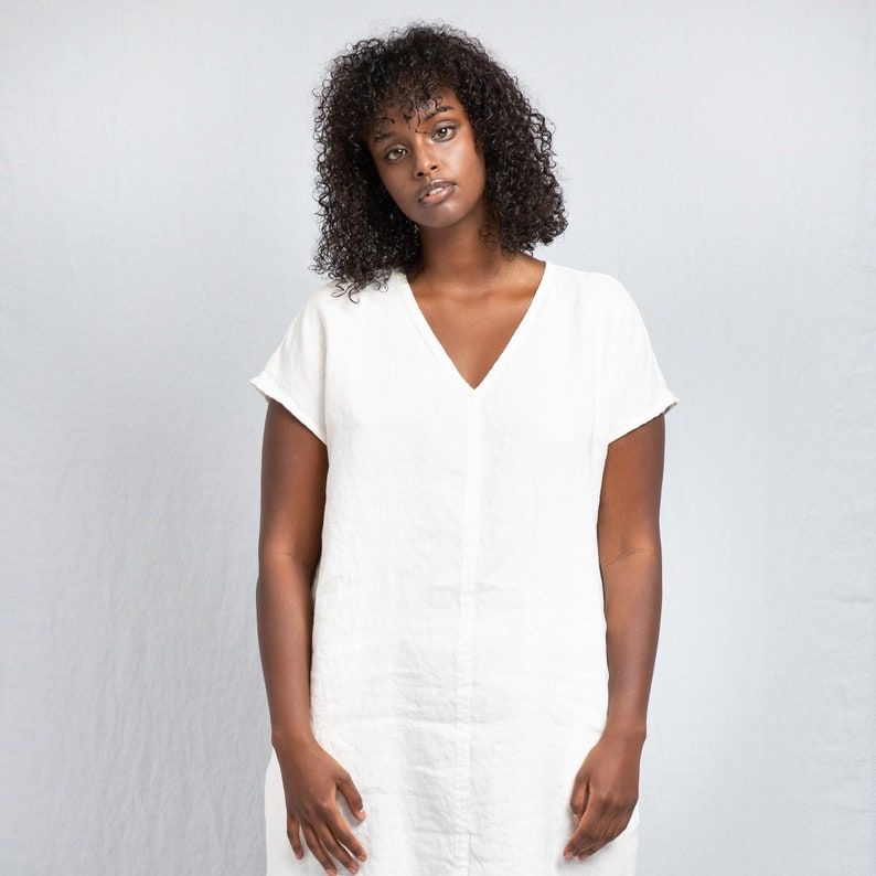Linen dress in V neck MONACO / Washed linen tunic / available image 0