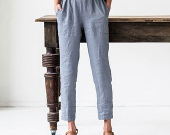 Linen GENOVA pants / with elastic waistband / Washed women linen trousers / linen pants available in 41 colors
