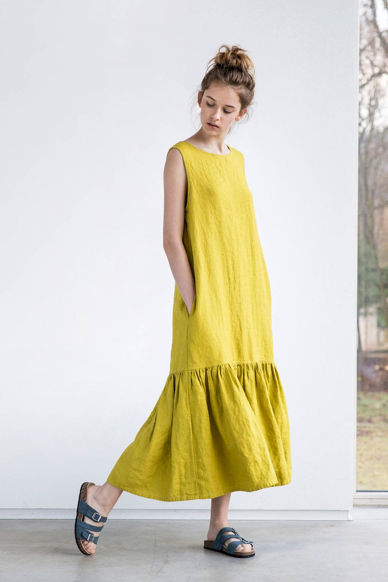 Drop ruffle maxi linen dress / Washed and soft linen dress image 0