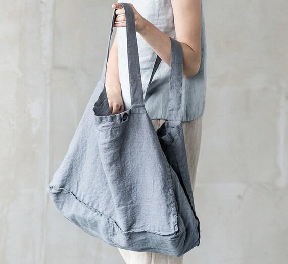 Large linen tote bag   linen beach bag   linen shopping bag in  1cdd67afcc873
