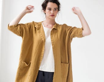 Linen cardigan jacket SINTRA / in amber yellow / Short or Long washed oversized Linen cardigan/ Linen jacket