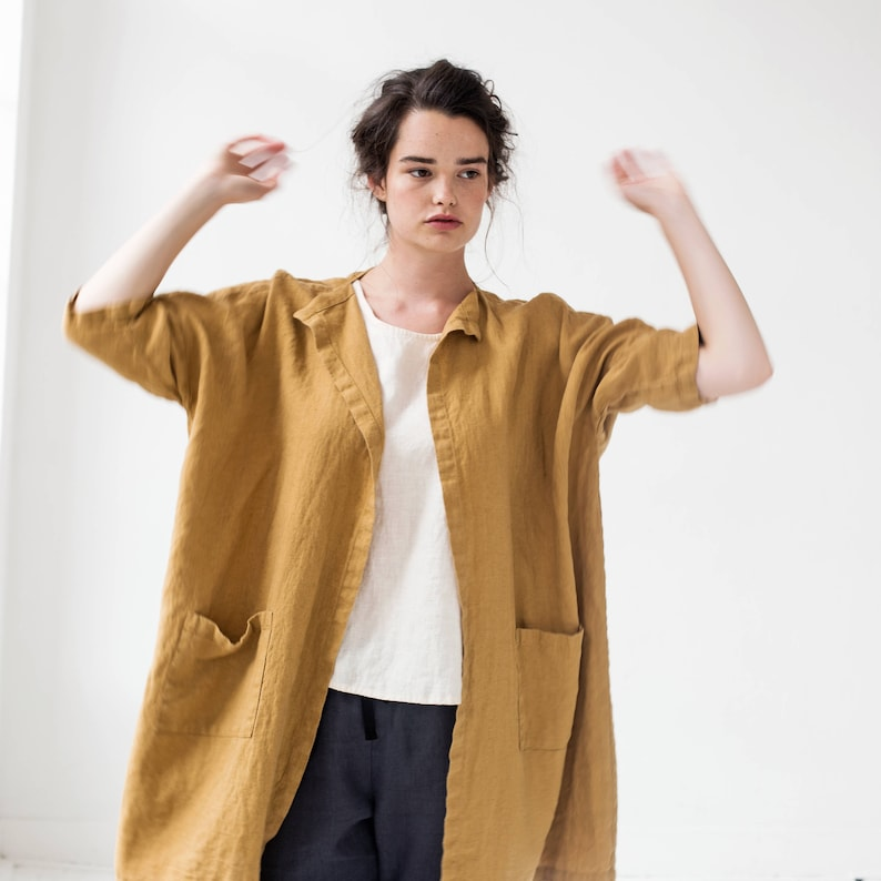 Linen cardigan jacket SINTRA / in amber yellow / Short or Long image 0