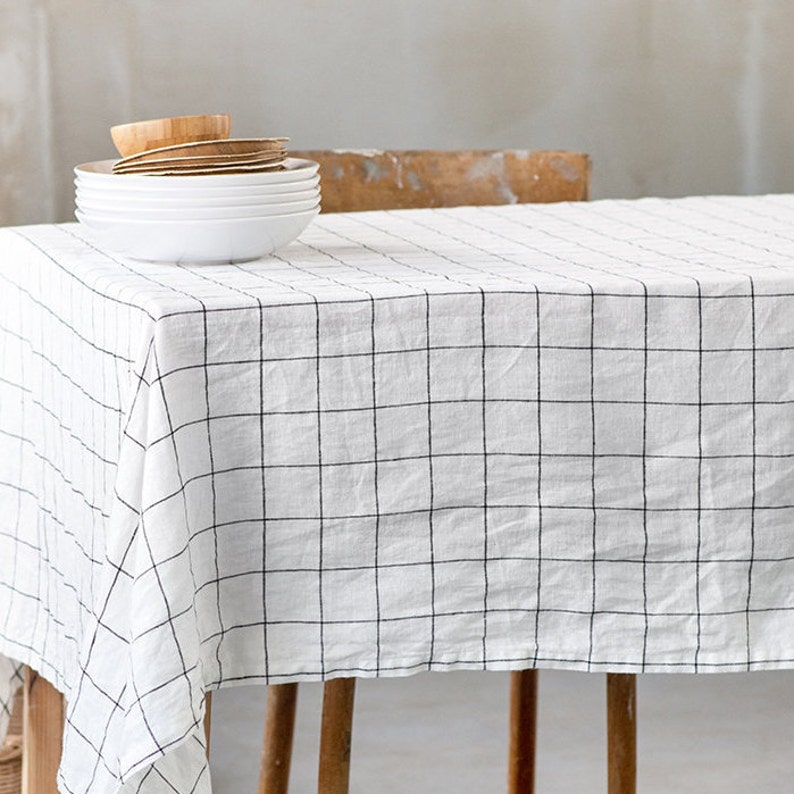 Washed linen tablecloth in large checks / Handmade linen image 0