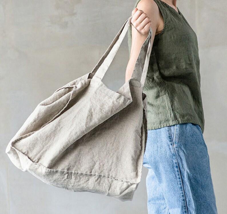 Linen tote bag in Natural / linen beach bag / linen shopping image 0