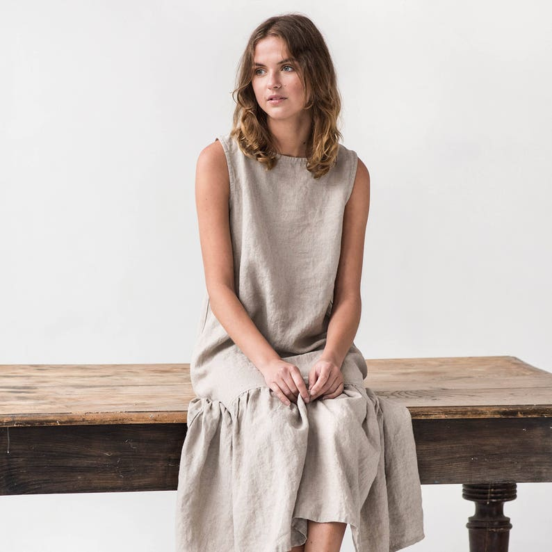 Drop ruffle maxi linen dress. Washed and soft linen dress in image 0
