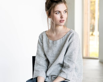 Linen top JANUARY / Washed linen loose top / available in 34 colors