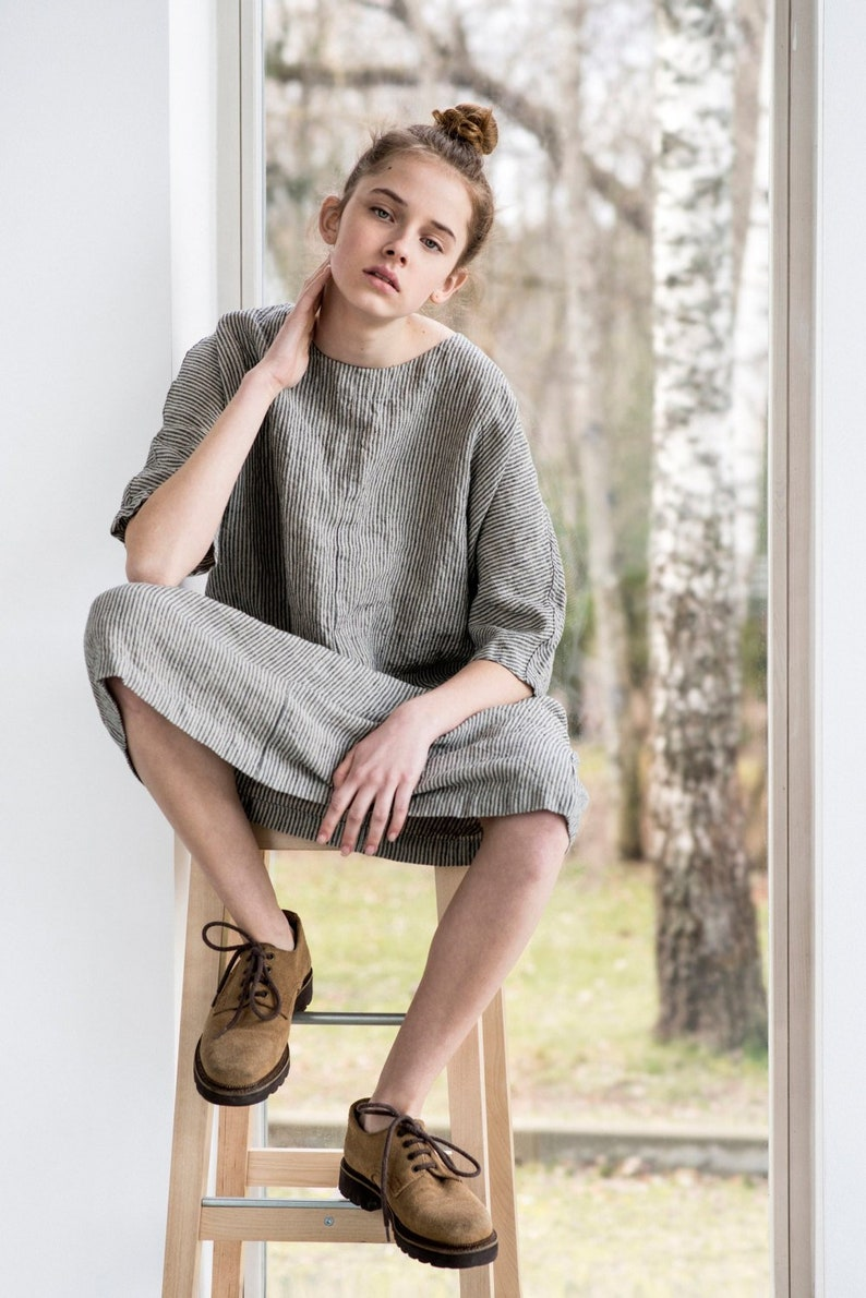 Tunic  dress SEUL in MIDI length / Washed linen KIMONO tunic image 0
