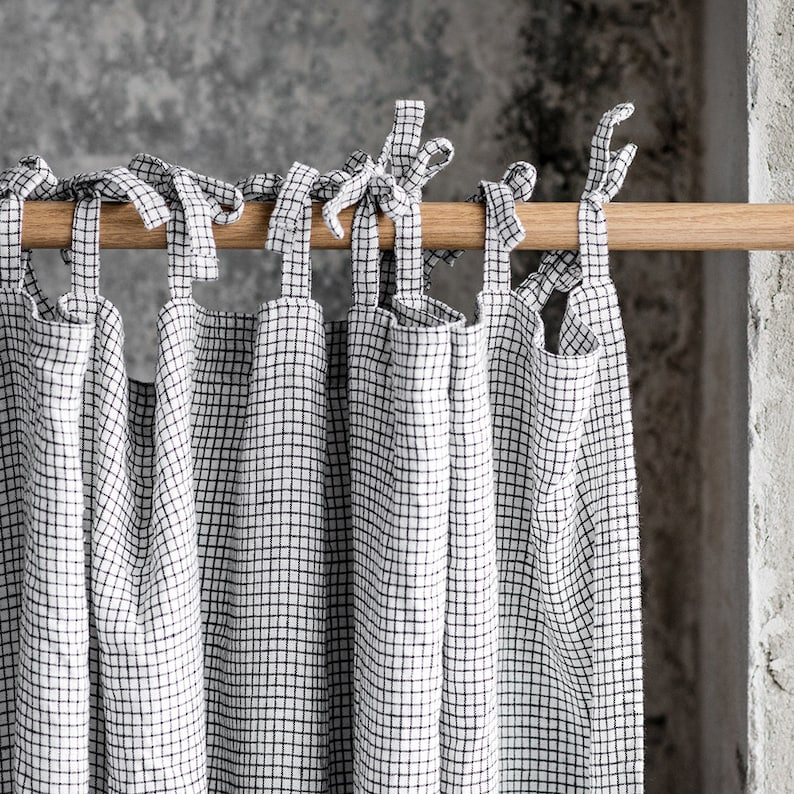 Linen CURTAIN 1 panel in Small Checks / Washed linen image 0