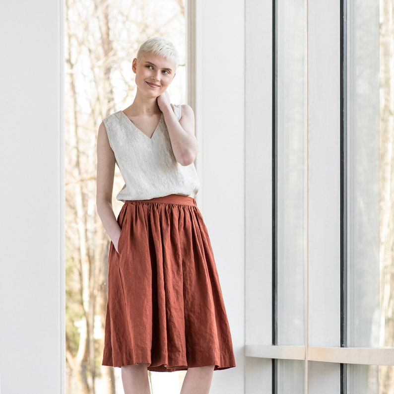 Linen skirt '1950s CITY' / with deep pockets / A  image 0