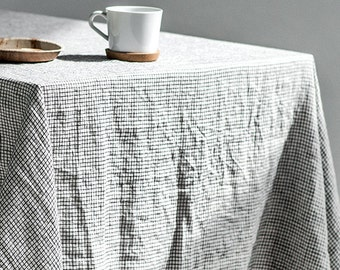 Washed linen tablecloth in small checks / Handmade linen tablecloth