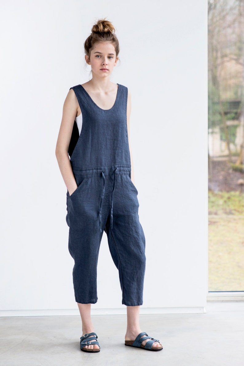 77ba4a05b70a Loose Linen jumpsuit   Charcoal washed linen jumpsuit