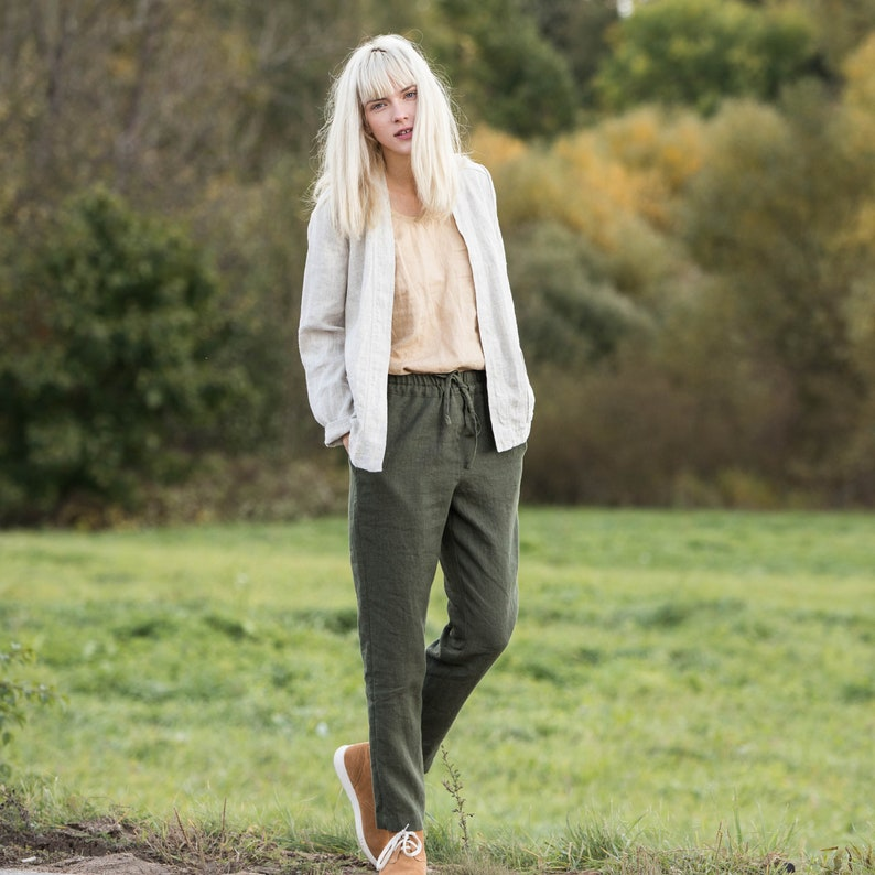 Loose linen pants in heavy linen / Washed women linen trousers image 0