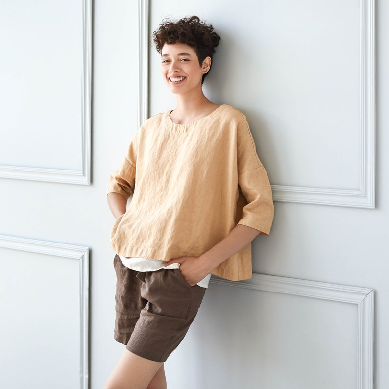 Oversized linen top OLD LONDON in round neck image 0