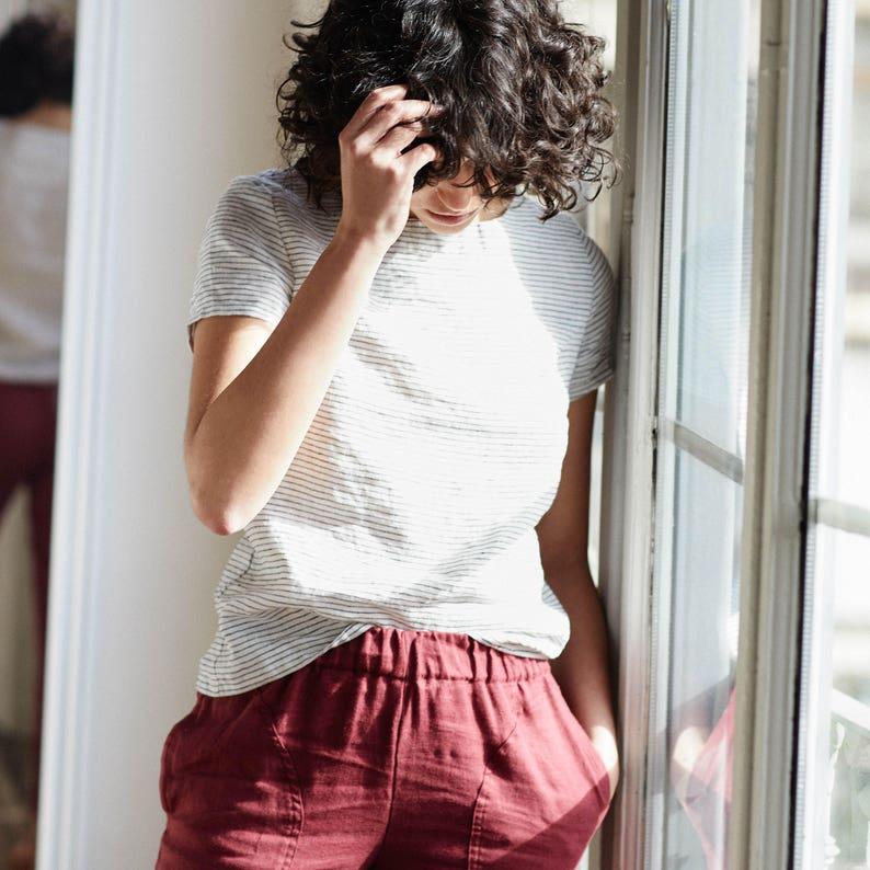 Linen GENOVA pants / with elastic waistband / Washed women image 0