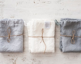 Linen towels. Set of 3 washed natural, eco - friendly, handmade linen towels