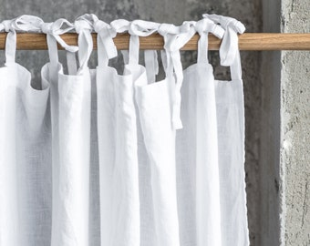 Linen CURTAIN (1 panel) in White / Washed linen curtains / linen drapes in white / drape for relaxed look