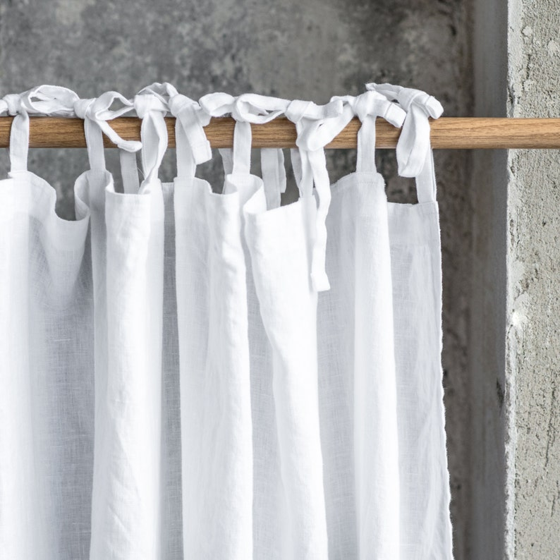 Linen CURTAIN 1 panel in White / Washed linen curtains / image 0