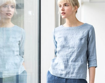 Fitted linen top DAVOS in 3/4 sleeves